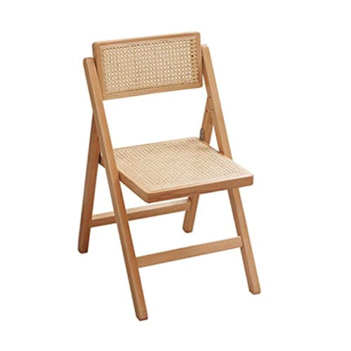 Folding chair Taburete Plegable Cocina Jardín Plegable Taburete Simple Balcón Back Silla Silla Ratán Silla Sólido Silla Portátil Cinturón (Color : Wood Color)