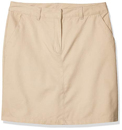 IZOD Junior's Uniform Twill Flat Front Skirt, Khaki, 7