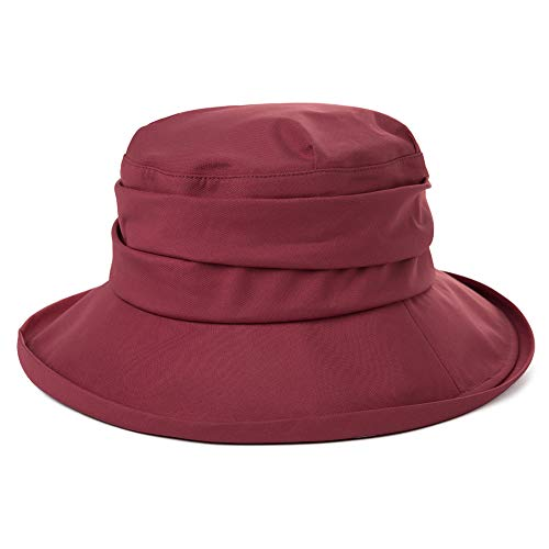 Comhats Damen Faltbarer Regenhut Sonnenhut wasserdichte Mütze mit breite Krempe UPF50+ Rot