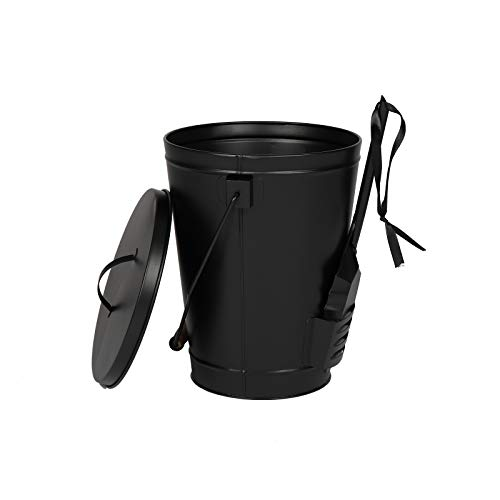 TUFFIOM 5 Gallon Ash Bucket with Shovel & Lid, Indoor & Outdoor Portable Ash Pail Galvanized Wtin Wood Handle Hearth Tools for Fireplace, Fire Pits, Wood Burning Stoves Black