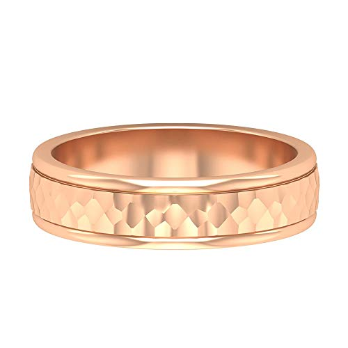 Antique Gold Textured Ring, Mens Engagement Band, Unique Wedding Band, Vintage Statement Ring, Groom Bridal Anniversary Ring, Daily Wear Ring, 18K Rose Gold, Size:UK X