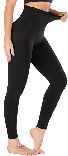 RUNNING GIRL 5 inches High Waist Yoga Leggings, Compression Workout Leggings for Women Yoga Pants Tummy Control(CK2392 Black.M)