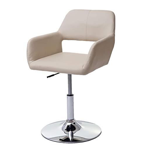 Mendler Esszimmerstuhl HWC-A50 III, Stuhl Küchenstuhl, Retro 50er Jahre, Kunstleder - Creme, Chromfuß