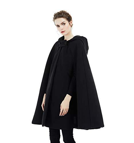 BEAUTELICATE Hooded Cloak Wedding Cape for Women Bridal Winter Robe Wool Blend Halloween Costume Christmas Black Half Length