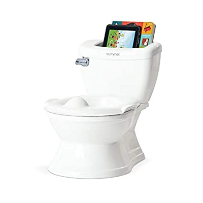 Summer My Size Potty with Transition Ring & Storage, White - Realistic Potty Training Toilet - Features Interactive Toilet Handle, Removable Potty Topper and Pot, Wipe Compartment, and Splash Guard from Summer Infant