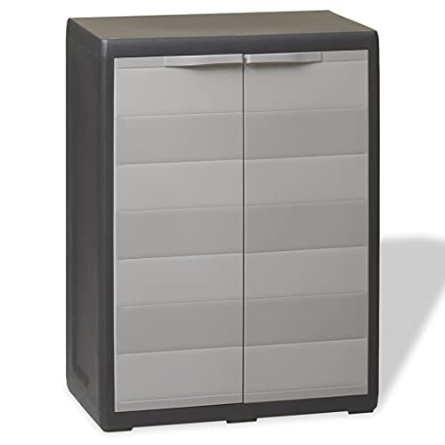 Armario al aire libre, armario de almacenamiento de jardín, armario de utilidad, caja de almacenamiento, armario de almacenamiento, armario de almacenamiento de jardín con 1 estante, negro y gris