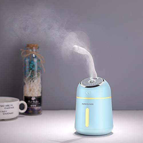 DLRBWAN Mini difusor de Aceite Esencial con la lámpara LED del Ventilador USB 330 ml Humidificador de Aire ultrasónico para el hogar del hogar 3 en 1 difusor de Aroma (Color : Blue)