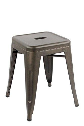 ARREDinITALY -Set 4 Sgabelli Bassi impilabili in Metallo Stile Industrial Tolix - Replica in Metallo Canna di Fucile