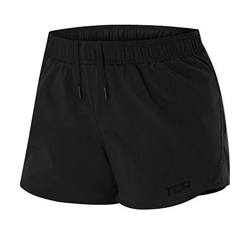 TCA Pulse Damen Laufshorts/Sporthose Kurz mit Reißverschlusstaschen - Schwarz, L