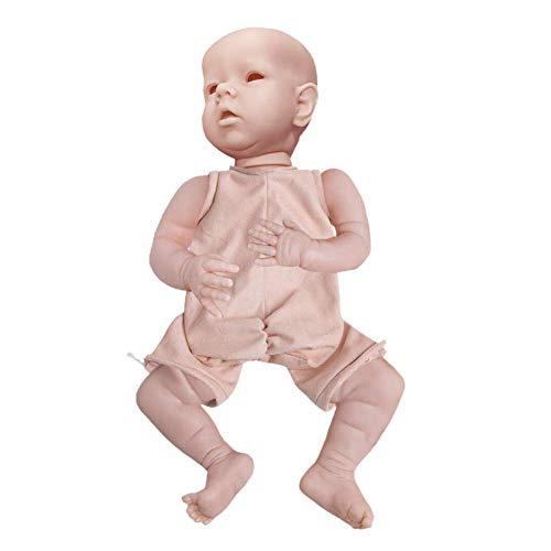 POHOVE Realista Reborn Bebé Muñecas, 22 Inch Lindo Reborn Muñeca Molde Kit en Blanco Simulación Suave Vinilo Silicona Muñeca Cuerpo Completo para Cumpleaños Regalos - como Imagen Mostrar, 22inch