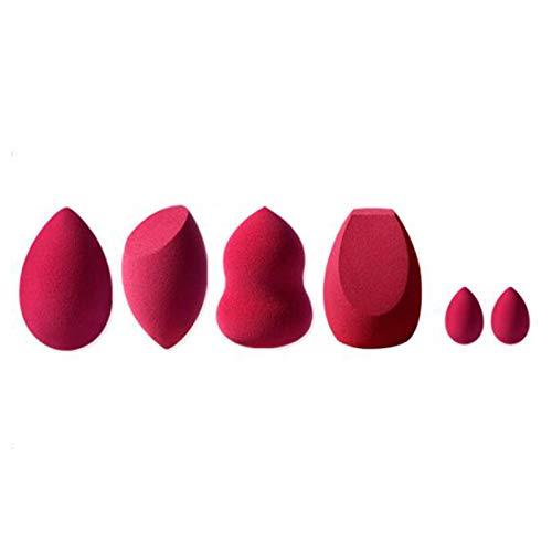 Caja de Juego de Esponjas de Maquillaje con Tema Rojo, Esponja Mixta de Base de Belleza, Huevo de Belleza 6 Tipos de Herramientas de Maquillaje Profesionales Multifuncionales Secas y Húmedas