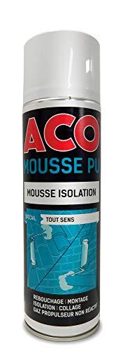 ACO DPU500A ACO MOUSSE Mastic Expansive Polyurethane, Tous Sens, Isolation & Remplissage, 500ml