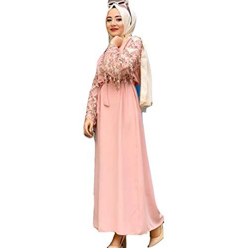 Women Traditional Muslim Women Abaya Dress Fower Blooming Long Sleeve Maxi Length Cardigan Robe with Sashes Saudi Arab Dubai (803#Pink, L)