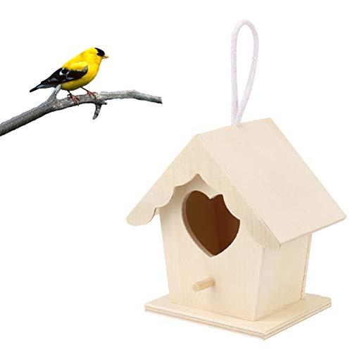 Enkomy Vogelhaus aus Holz, Hängendes Herzförmiges Nistkasten-Vogelhaus für Gartendekorationen im Freien