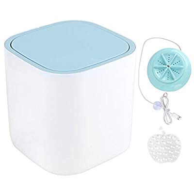 Fdit 3.8L Mini Portable Tabletop Washing Machine USB Powered Compact Underwear Laundry Washer for Home Travel (Blue)