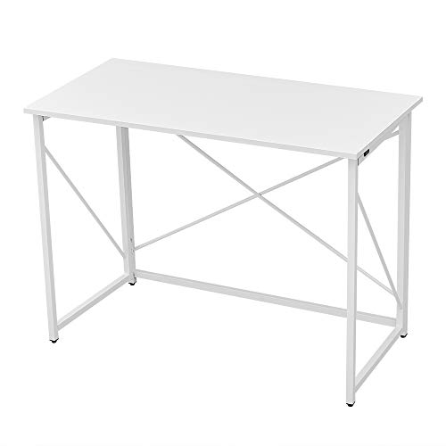 Panana Folding Computer Gaming Desk, Portable Wooden Study Writing Office Desk Foldable PC Laptop Workstation Meeting Table Picnic Table with Metal Frame Home Adults Kids Children White