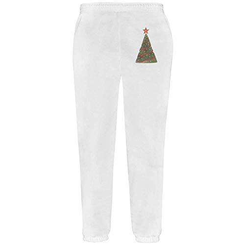 Azeeda Medium 'Christmas Tree' White Adult Joggers / Sweatpants / Bottoms (JO00012702)