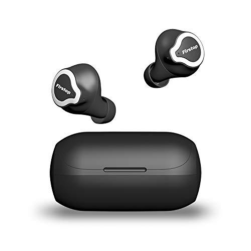 Firstop Audífonos Bluetooth 5.0 Auriculares inalámbricos, 20+ horas de tiempo de reproducción y sonido estéreo con realce de graves, micrófono incorporado, Impermeabilidad IPX5, vinculación en un solo paso