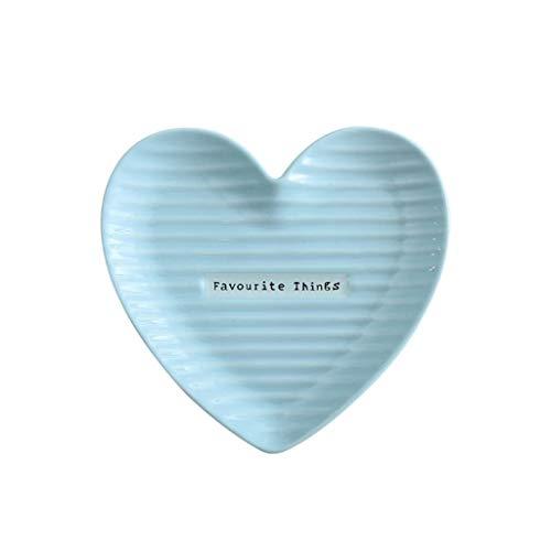 MJHSP Simple Heart-shaped Dessert Plate, Home Ceramic Fruit Sushi Breakfast Plate (Color : Blue, Size : 20x19x2.5cm)