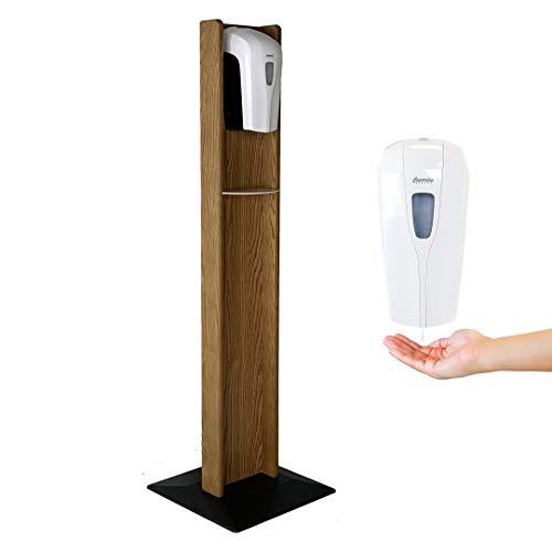 Wooden Mallet Touch Free Hand Sanitizer Dispenser Floor Stand, Medium Oak, Model: HSA1MO