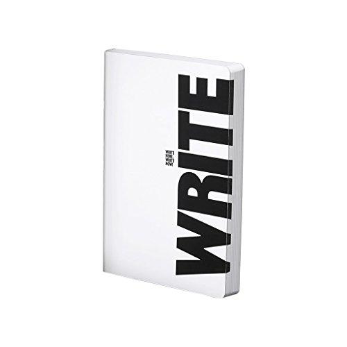 "nuuna Design Notizbuch Graphic L - ""Write-Wrong"" - Smooth Bonded Leather, Softcover, Farbschnitt, Punktraster, 256 Seiten Premium Papier, DIN A5, Weiß"