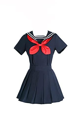Fiamll Disfraz de uniforme escolar japons de manga corta para mujer, uniforme de sailor, cosplay, disfraz, disfraz completo, azul, XL