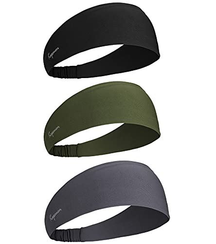 Sport Stirnband für Herren, Unisex Haarband Mode Stirnband Damen Sport Stirnbänder Elastisches Haarband für Yoga, Laufen, Wandern, Fahrrad und Tennisbälle Schweißband(2 Pcs) (3pc-Grau-Armee Grün)