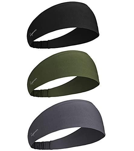 Fascia per capelli da uomo, unisex, alla moda, per sport, per yoga, corsa, trekking, ciclismo e palline da tennis (2 pezzi) (3 pezzi di colore grigio-verde militare