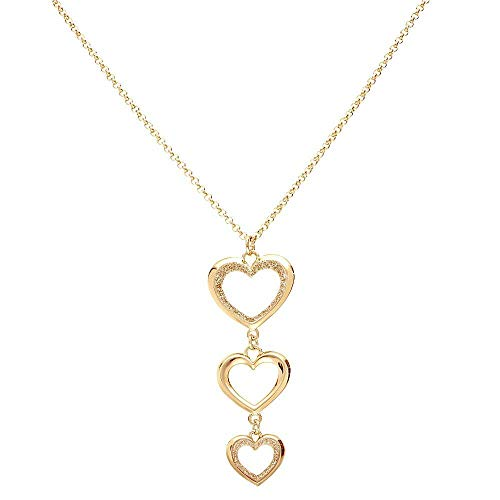 Stroili - Collana in ottone oro rosa con pendente cuori glitter per Donna