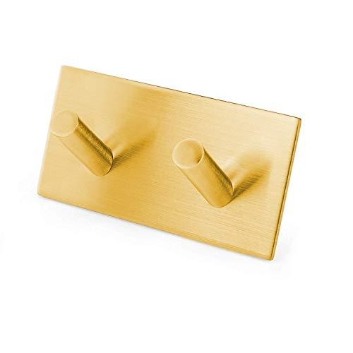 Milti - Gancho autoadhesivo de acero inoxidable cepillado 304 – dorado – toallero de diseño sin agujeros para el baño o la cocina – nunca más taladrar – colgador mate