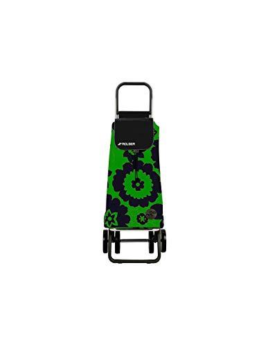 Carro Rolser Pack Flor 4 Ruedas Plegable - Verde/Negro