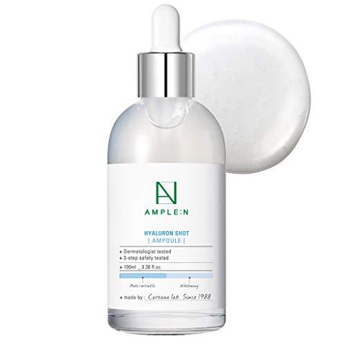 Coreana AMPLE:N Ampolla de inyección de Hyaluron 3.38 fl.onz.(100 ml) - Potente suero facial hidratante con ácido hialurónico, rellena y suaviza, hidrata diariamente la piel seca
