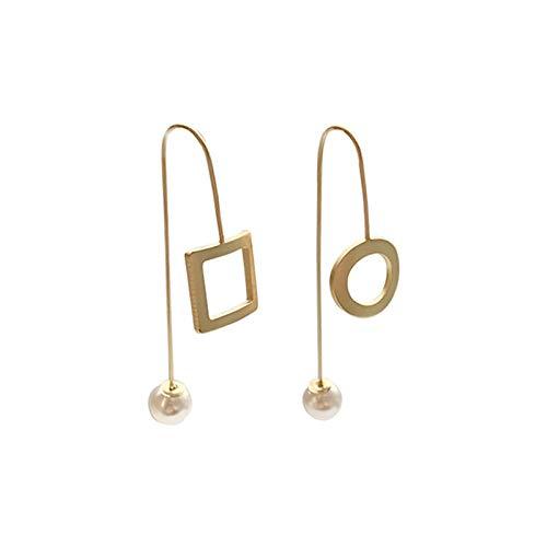 Pendientes Mujer Diseño De Moda Perla Asimétrica Contratada Geométrica Cuadrada Pendientes Redondos Accesorios De Joyería De Fiesta para Mujer