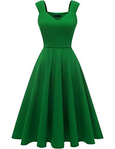 DRESSTELLS Damen 1950er Midi Rockabilly Kleid Vintage V-Ausschnitt Hochzeit Cocktailkleid Faltenrock Green S