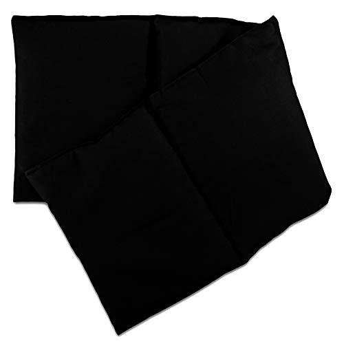 Almohada térmica compartimentada en 4 con pepitas de uva 60x20cm - negro - Saco térmico para microondas - Calor y frío - Cojín térmico con semillas