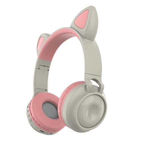 DPDM Auriculares Bluetooth con luces LED intermitentes, sobre la oreja con micrófono y control de volumen para iPhone, iPad, smartphones, ordenadores portátiles, PC, TV gris