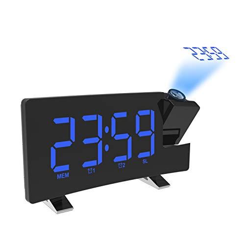 Sveglia Digitale, Orologio a Proiezione da Comodino Digitale, Radiosveglia con Proiettore, FM Orologio, Doppio Allarme, 7'' Display LED con Dimmer, Funzione Snooze, 12/24H