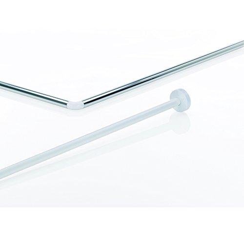 Kela 20992, Duschstange für Duschvorhang, L-Form, Aluminium, Ø 2,5 cm, L 90 cm x B 90 cm, Cant, Weiß