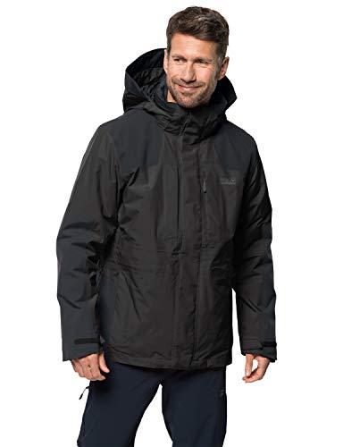 Jack Wolfskin Herren Thorvald 3-in-1-Jacke für Trekkingtouren Wasserdicht Winddicht Atmungsaktiv 3in1-jacke, schwarz, L