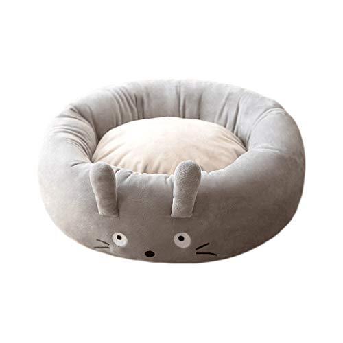 WXYPP Cama de Perro Gruesa Redonda con Pelusa cómoda con Fondo Antideslizante Adecuado para Perros y Gato Aliviar La Ansiedad (Color : Gray, Size : Large)