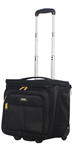 Lucas Convertible Under Seat Carry on Luggage - Expandable 15 Inch Weekender Overnight Business Travel Suitcase - Lightweight 2- Rolling Spinner Wheels Bag (Black)