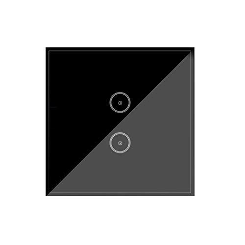 Wi-Fi Smart Lichtschalter, Jinvoo Intelligent Touch-Schalter, APP-Fernbedienung, Sprachsteuerung, Brauchen Neutral, Kompatibel mit Alexa/Google Home, Unterstützt von Tuya, Schwarz (2 Gang)