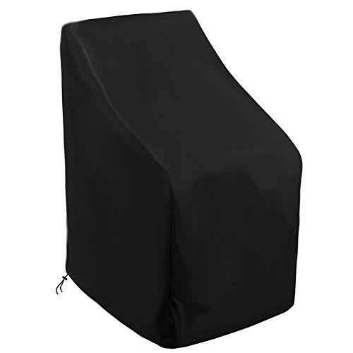 WWWANG Muebles de Exterior Duradera Cubierta de la Silla, Transpirable Oxford Patio Funda de Asiento, a Prueba de Agua a Prueba de Viento y Anti-UV Patio, Negro (Size : 420D)