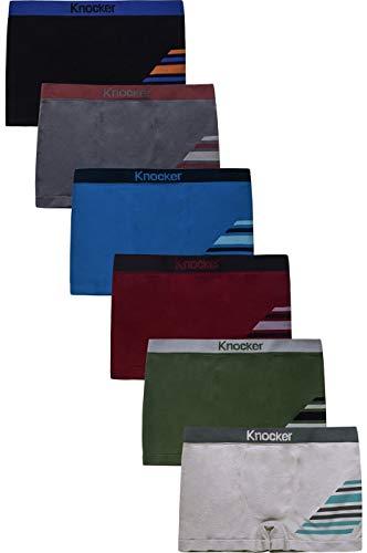 Knocker Boy's Seamless Nylon Comfort Boxer Briefs 6-Pack Assorted Color