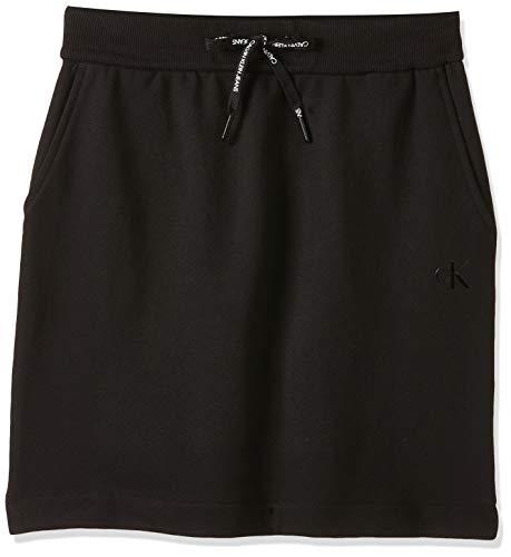 Calvin Klein Jeans Damen Branded Drawcord Skirt Rock, Schwarz (CK Black BAE), 34 (Herstellergröße: Small)