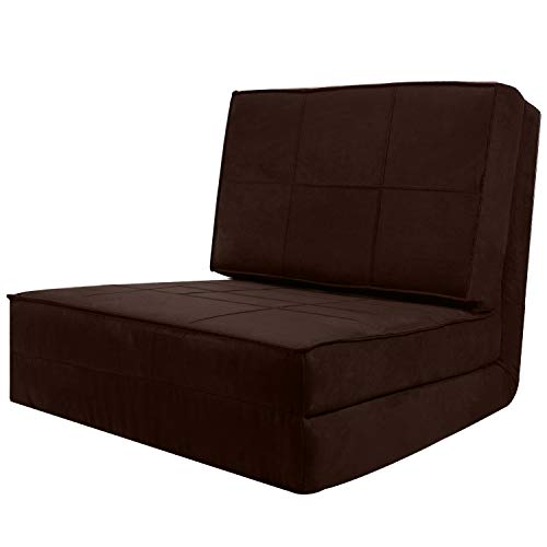 ROYWEL 4-Folding Sofa Adjustable Convertible Flip Chair, Sleeper Dorm Game Bed Couch Lounger Sofa Chair Mattress Living Room Furniture - Brown