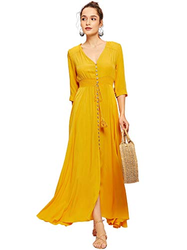 Milumia Women's Button Up Split Floral Print Flowy Party Maxi Dress Medium Yellow-2