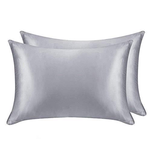 juwenin - Funda de almohada de seda para cuidado del pelo y rostro, para prevenir las arrugas, cremallera oculta, 2unidades, poliéster Poliéster. raso seda sintética, Gris, Estándar