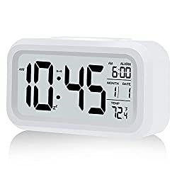 Digital Alarm Clock, Battery Operated Alarm Clock, with Smart Night Light | Snooze | Date | 12/24H | Indoor Temperature, 4.3 LCD Alarm Clocks for Bedrooms Home Desk Travel Best Gift for Teens(White)