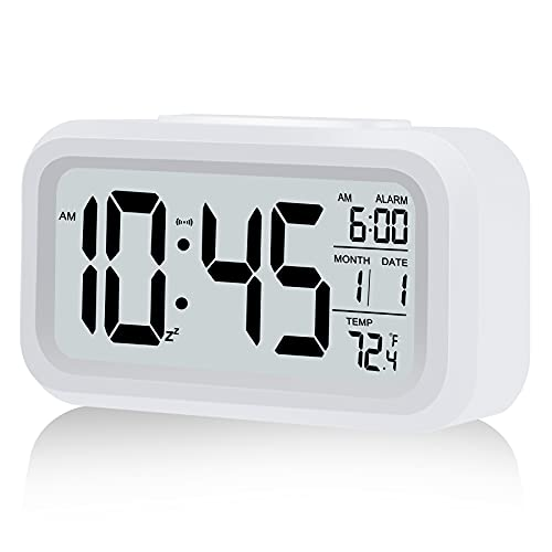 Digital Alarm Clock, Battery Operated Alarm Clock, with Smart Night Light | Snooze | Date | 12/24H | Indoor Temperature, 4.3' LCD Alarm Clocks for Bedrooms Home Desk Travel Best Gift for Teens(White)